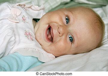 altes , monat, 4, töchterchen, honigraum, lächeln glücklich