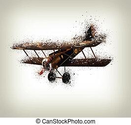 altes , motorflugzeug, zerschlagen, weiß