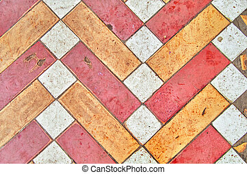 altes , muster, keramisch, hintergrund, gelber , dreckige , weißes, tiles., rotes