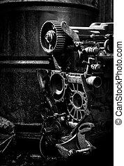 altes , ottomotor, schwarzes weißes foto