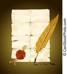 altes , papier, mit, briefmarke, und, schreibfedern, werkzeug