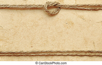 altes , papier, mit, seil, umrandungen