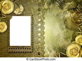 altes , papier, rahmen, mit, a, rose, auf, der, weinlese, hintergrund