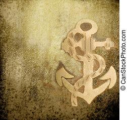 altes , pergament, mit, ein, schiffsanker