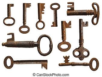altes , schlüssel, sammlung, (10, species)