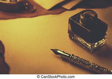 altes , schreiben kugelschreiber, papier, tinte, dokument, pergament, feder