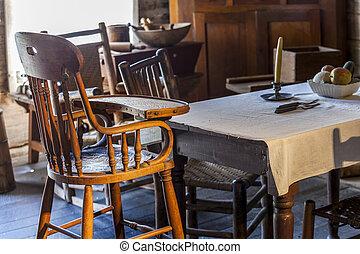 altes , sehr, baby, tisch, stuhl, kueche