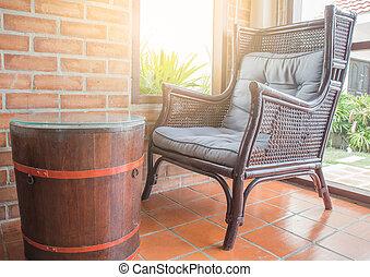 altes , stühle, inneneinrichtung, und, dekoration, von, a, kaffeestube, café