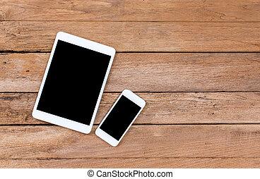 altes , tablette, beweglich, schirm, telefon, edv, schwarz, hölzern