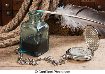 altes , taschenuhr, und, tintenfaß