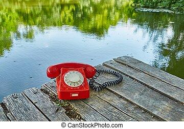 altes telefon, in, natur