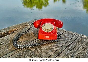 altes telefon, natur