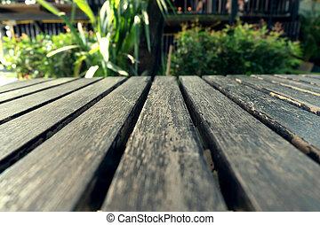 altes , tisch, holz, planke, mit, grün, natürlich,...