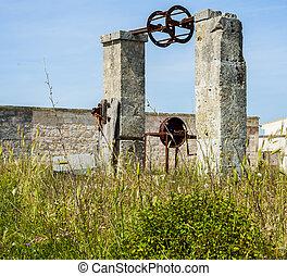 altes , verlassen, landschaft, bewässerung, ort, apulia