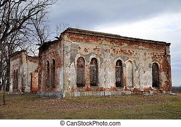 altes , verlassen, ruiniert, zerstörter , mauerstein,...