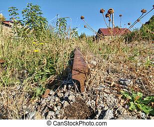 altes , verlassen, schiene, und, riegel, von, a, railway., rostiges , zug, eisenbahn