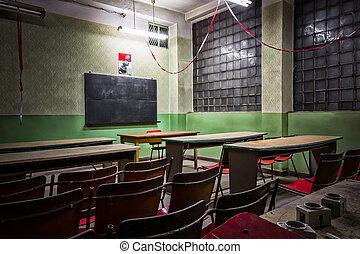 altes , verwüsten, klassenzimmer, in, ein, industrie, firma