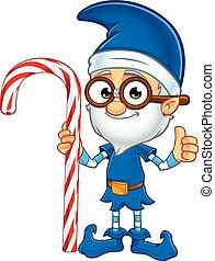 altes , weihnachtshelfer, in, blaues, zeichen