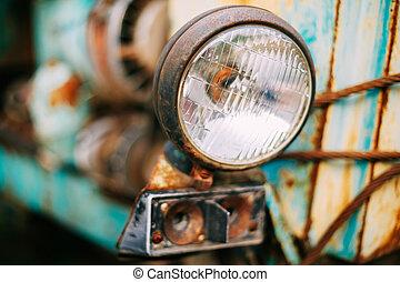 altes , weinlese, scheinwerfer, auf, retro, autos, schließen