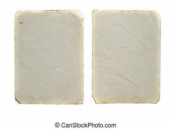 altes , weinlese, zwei, freigestellt, papiere, weißes