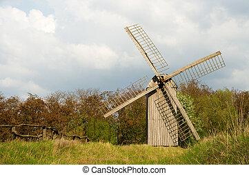 altes , windmühle, und, hölzerner zaun