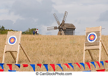 altes , windmühle, und, ziel