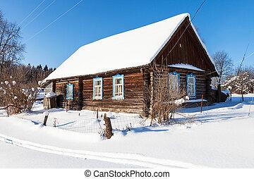 altes , winter, haus, sonnig, ländlich, tag, typisch