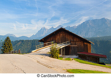altes , woodshed, in, der, hohe berge