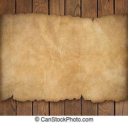 altes , zerrissenen papier, auf, hölzern, hintergrund