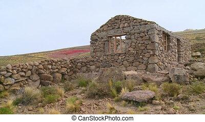 Altiplano Farmlands and a Restored Tomb, Bolivia - Wide...
