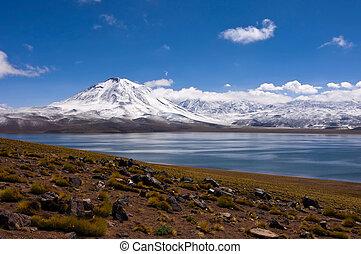 altiplano, pedro, san, atacama, de, see, schnee, miscanti, bedeckt, chile, laguna, vulkan