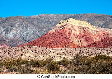 altiplano, quebrada, 中央である, アンデス山脈, de, humahuaca, アルゼンチン, 谷, カラフルである