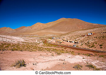 altiplano village Machuca with a typical church near San...