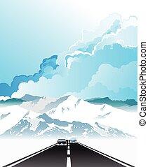 altitude, élevé, route