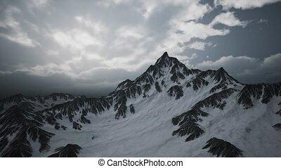 altitude, crêtes, nuages, élevé