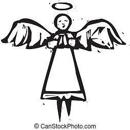 alto, ángel, woodcut