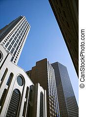 alto, ángulo, edificios., bajo