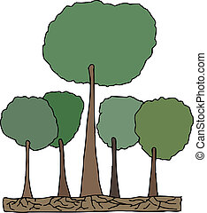 alto, árbol, en, bosque, vector
