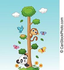 alto, árvore, caricatura, animal, feliz