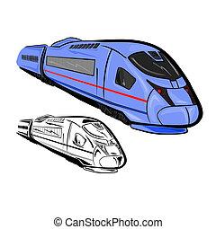 alto, 1, trem, velocidade