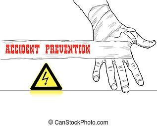 alto, accidente, voltaje, prevención