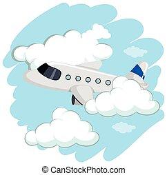 alto, aeroplano, volare, cielo