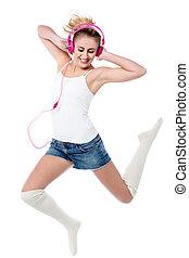 alto, aire, música, saltar, amante