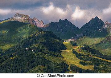 alto, alpino, montagne, paesaggio, in, estate, austria