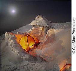 alto-altezza, campeggiare