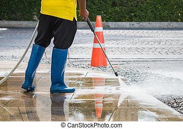 alto, ao ar livre, jato, chão, cima, pressão água, limpeza,...