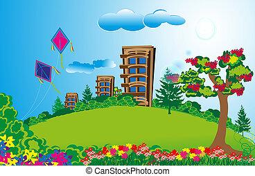 alto, apartamento, em, longo, verde, campos