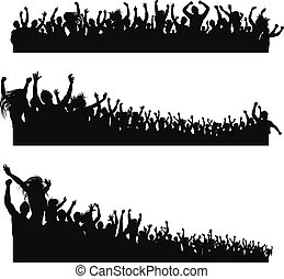 alto, aplausos, siluetas, calidad, multitud