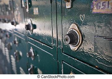 alto, armarios, escuela, verde