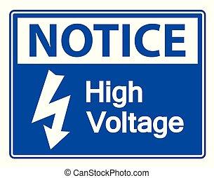 alto, aviso, voltagem, sinal